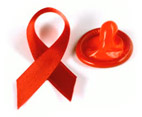 AIDS red ribbon and condom